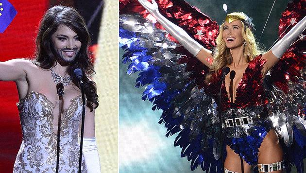 """""""Miss Austria"""" Amina Dagi (l.) und """"Miss USA"""" Olivia Jordan (r.) beim """"National Costume""""-Nebenbewerb (Bild: EPA)"""