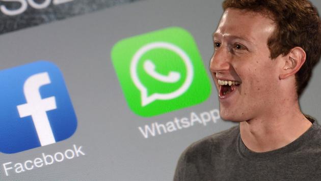 Wird WhatsApp bald mit Facebook-Konto verknüpft? (Bild: APA/AFP/MONEY SHARMA, APA/dpa/Marius Becker, krone.at-Grafik)