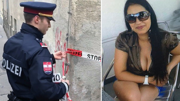 """Ein Polizist am Einsatzort; Mordopfer Alexandra S. (22) (Bild: Andi Schiel, """"Krone"""")"""
