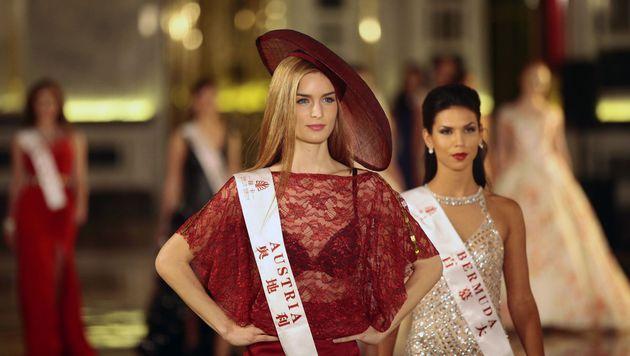 """Die amtierende """"Miss Austria"""" Annika Grill schaffte es leider nicht ins """"Miss World""""-Finale. (Bild: APA/AFP/STR)"""