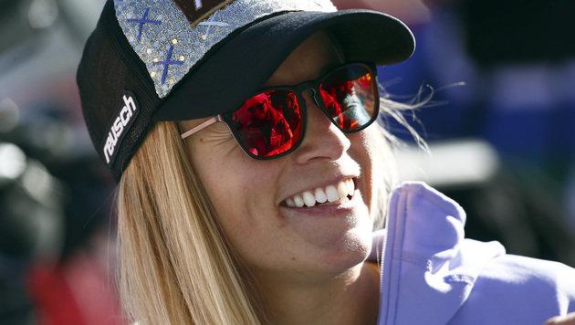 Hatte gut lachen: Tagessiegerin Lara Gut (Bild: AP)