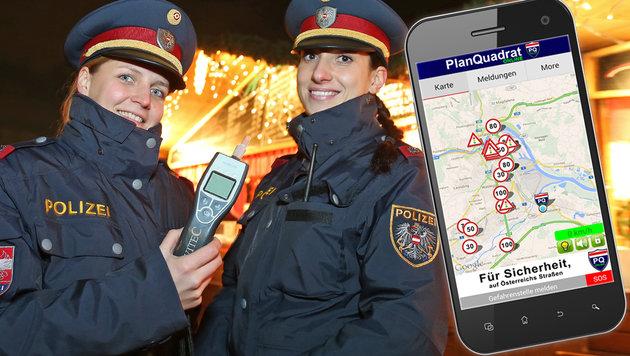Planquadrat-App macht Polizei das Leben schwer (Bild: Peter Tomschi, thinkstockphotos.de, Screenshot Google Play)