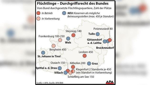 Diese acht Kasernen werden zu Asylquartieren (Bild: APA-Grafik)
