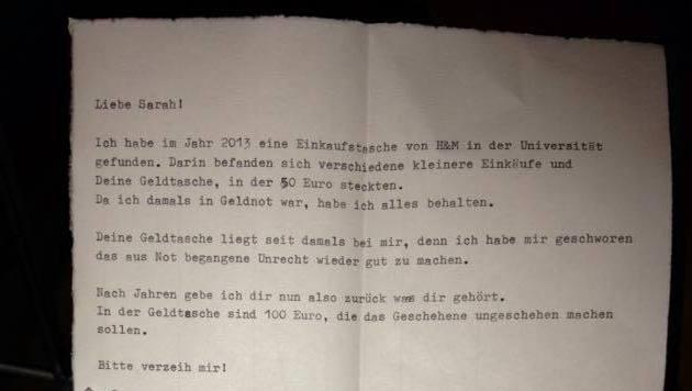"""""""Bitte verzeih mir!"""": Der Dieb schrieb der Studentin einen Brief und bat darin um Vergebung. (Bild: Zwefo)"""