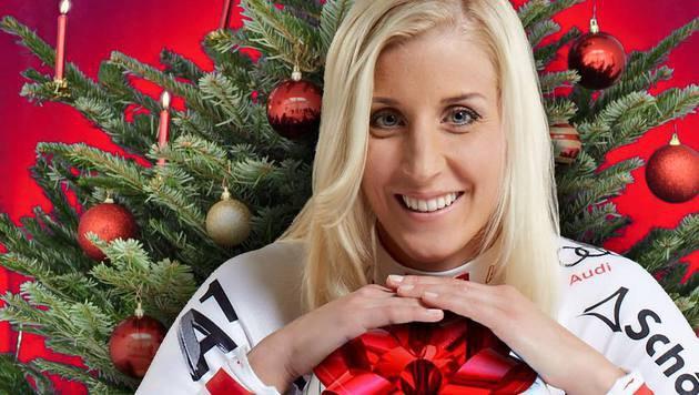Ski-Lady Eva-Maria Brem hat ihr Packerl gleich dabei! (Bild: Facebook.com)