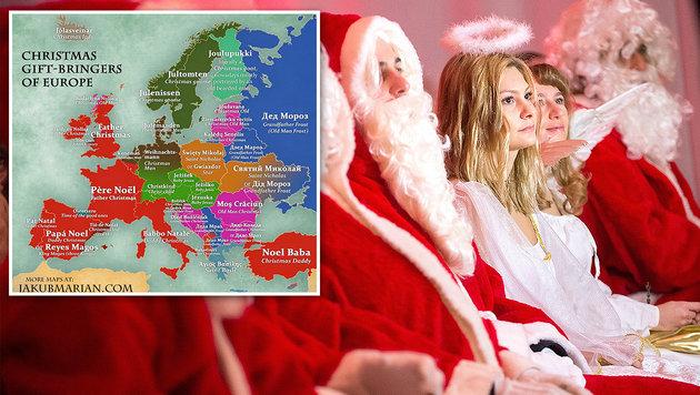 karte zeigt wer in europa die geschenke bringt. Black Bedroom Furniture Sets. Home Design Ideas