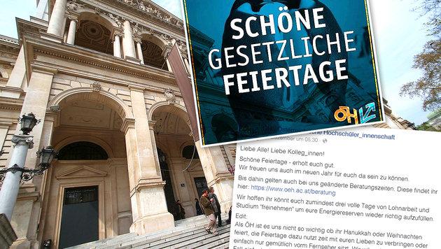 """ÖH wünscht """"schöne gesetzliche Feiertage"""" (Bild: APA/GEORG HOCHMUTH, facebook.com/bundesoeh)"""
