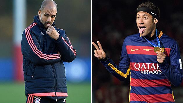 Guardiola baggert Neymar an: Holt er ihn zu City? (Bild: APA/AFP/CHRISTOF STACHE, APA/AFP/TOSHIFUMI KITAMURA)