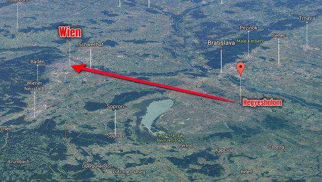 USA wollten 66 km vor Wien Atombombe abwerfen (Bild: google.at/maps, krone.at-Grafik)