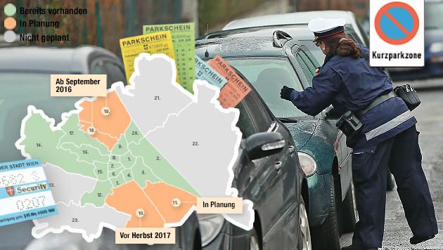"""So steht es um die Planung der Parkpickerl-Pflicht in Wien. (Bild: """"Krone""""-Grafik, Peter Tomschi)"""