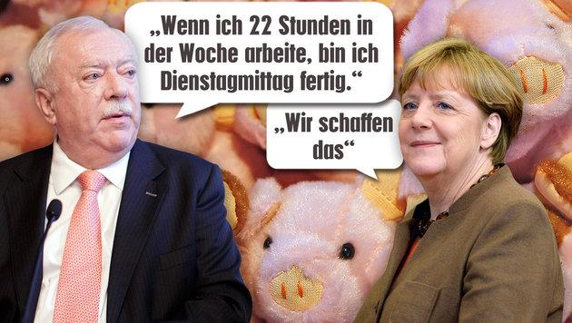 Von Merkel bis Häupl: Die Sprüche des Jahres (Bild: Martin A. Jöchl, thinkstockphotos.de, AFP, APA/GEORG HOCHMUTH)