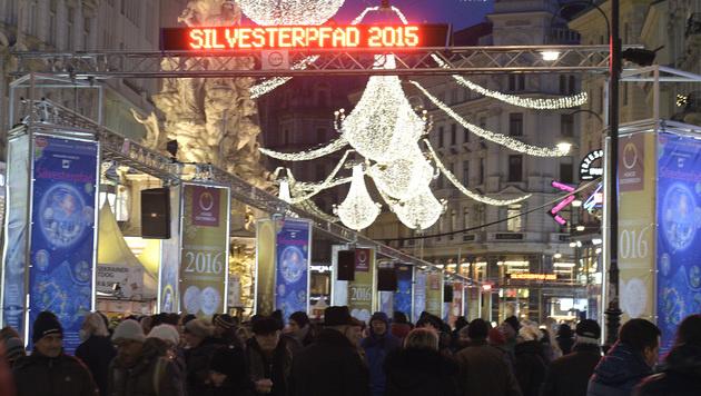 Ausgelassene Stimmung am Wiener Silvesterpfad (Bild: APA/Hans Punz)