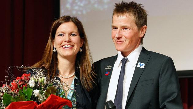 Andreas Goldberger mit seiner Frau Astrid (Bild: GEPA)
