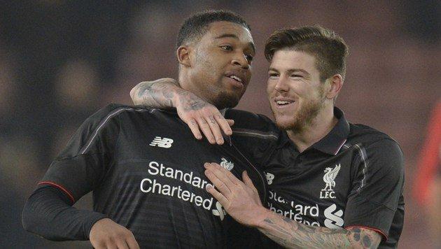 Liverpool-Goldtorschütze Ibe (li.) und Teamkollege Moreno (Bild: AFP)