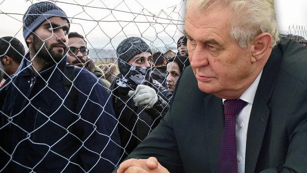 Pr�sident Zeman vermutet die Muslimbr�der hinter der Fl�chtlingswelle. (Bild: AP, AFP)