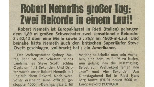 """Das schrieb die """"Krone"""" damals über Robert Nemeths Traumleistung. (Bild: """"Krone""""-Archiv)"""