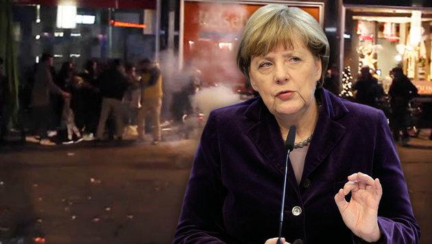 """Merkel: """"Harte Antwort des Rechtsstaats nötig"""" (Bild: Screenshot focus.de, AP)"""