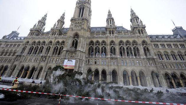 Umschnitt des Christbaums am Wiener Rathausplatz (Bild: APA/HERBERT PFARRHOFER)