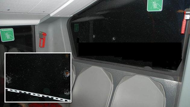 Vier Kugeln trafen die Heckscheibe des Linienbusses. (Bild: LPD Wien)