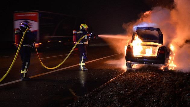 Auto brannte auf Südautobahn komplett aus (Bild: Lukas Derkits/Pressestelle BFK Mödling)