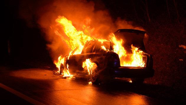 Das Auto brannte beim Eintreffen der Feuerwehr bereits lichterloh. (Bild: Lukas Derkits/Pressestelle BFK Mödling)