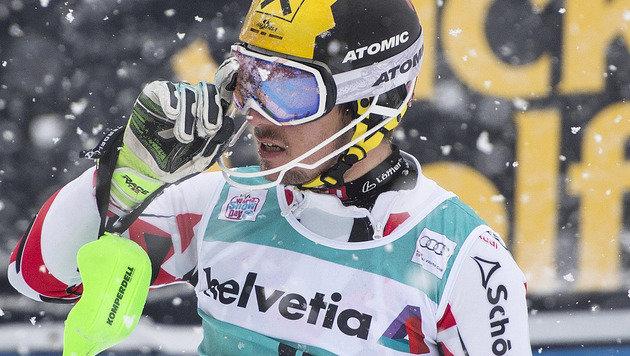 Hirscher verpasst Adelboden-Sieg um Wimpernschlag (Bild: APA/KEYSTONE/PETER SCHNEIDER)