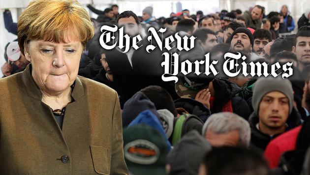 """""""New York Times"""" zur Asylkrise: """"Merkel must go!"""" (Bild: AFP/TOBIAS SCHWARZ, AP)"""