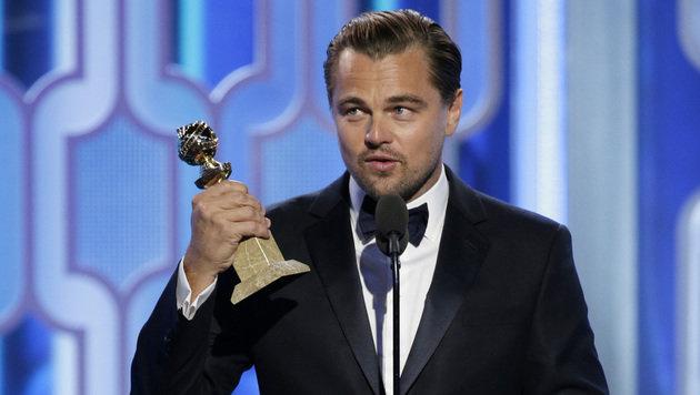 Leonardo DiCaprio bei seiner Dankesrede (Bild: AP)
