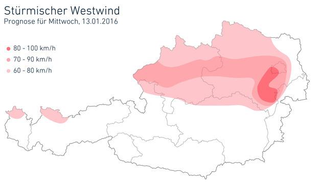 Die UBIMET-Prognosekarte zeigt die Sturmbereiche. (Bild: UBIMET)