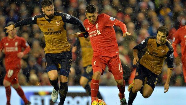 Verrücktes 3:3 zwischen Liverpool und Arsenal (Bild: APA/AFP/PAUL ELLIS)