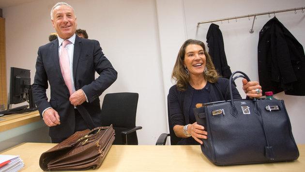 Fiona Pacifico Griffini-Grasser und ihr Anwalt Hermann Holzmann (Bild: APA/EXPA/JAKOB GRUBER)