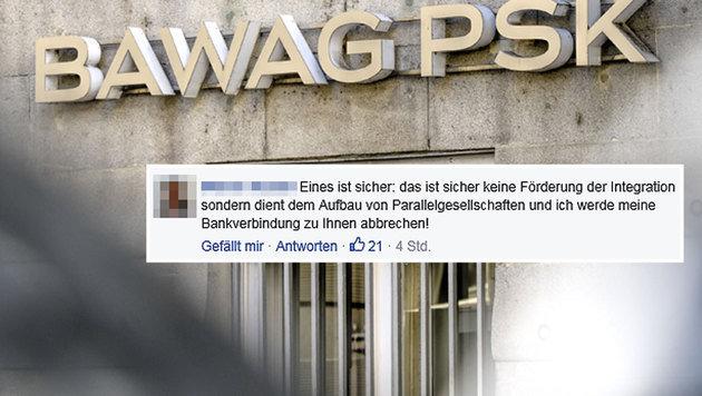 So oder ähnlich lauteten viele Postings auf der Facebook-Seite der BAWAG. (Bild: APA/HERBERT NEUBAUER, facebook.com/BAWAG PSK)
