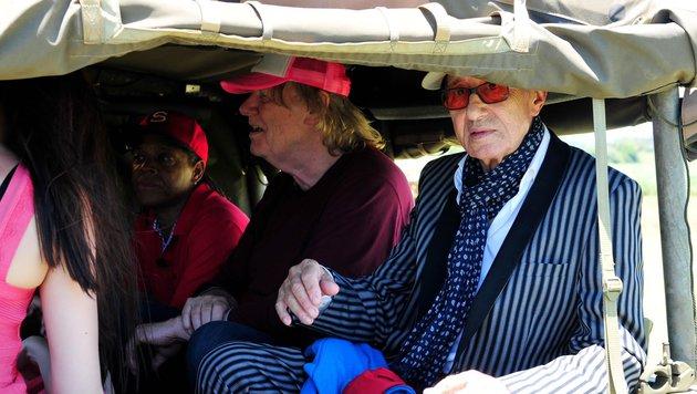v.r.: Schauspieler Rolf Zacher, Sänger Gunter Gabriel und Moderator Ricky Harris (Bild: RTL)