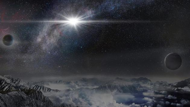 """So würde ASASSN-15lh am Himmel eines Exoplaneten strahlen, der """"nur"""" 10.000 Lichtjahre entfernt ist. (Bild: Beijing Planetarium/Jin Ma)"""