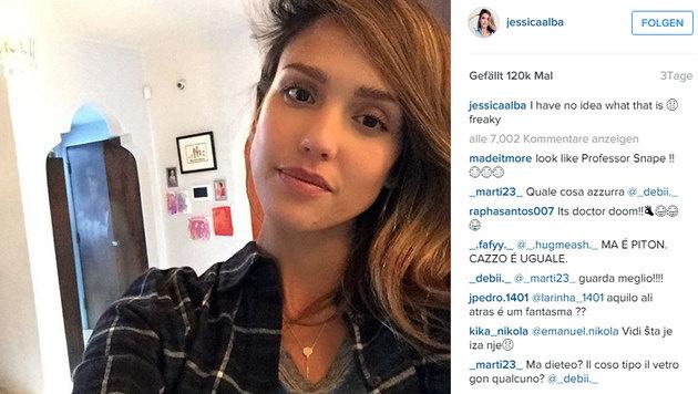 Jessica Alba ist bei diesem Selfie wohl nicht ganz allein... (Bild: instagram.com/jessicalaba)