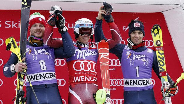 Das Siegespodest mit Razzoli, Kristoffersen und Gross (von links) (Bild: AP)