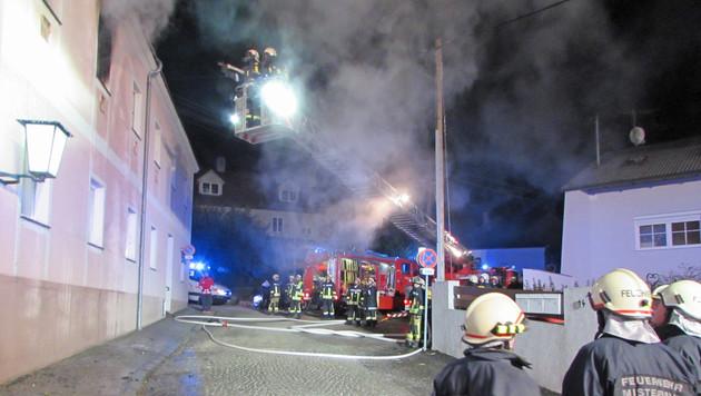 Von einer Drehleiter aus bekämpften die Florianis die Flammen. (Bild: APA/FF MISTELBACH)