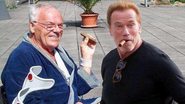 Der 75-Jährige ist großer Zigarren- und Schwarzenegger-Fan. (Bild: facebook.com/Sarah Mitt, Viennareport)