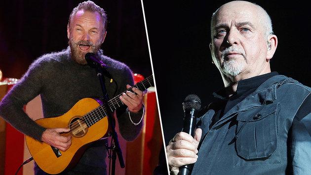Sting und Peter Gabriel gehen gemeinsam auf Tour (Bild: APA/EPA/Peter Foley, Jürgen Radspieler)