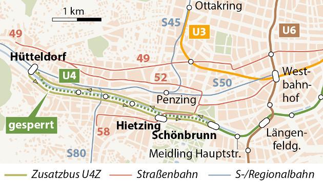 Die Sperre gilt zunächst zwischen Hütteldorf und Hietzing, dann bis Schönbrunn. (Bild: APA-Grafik)