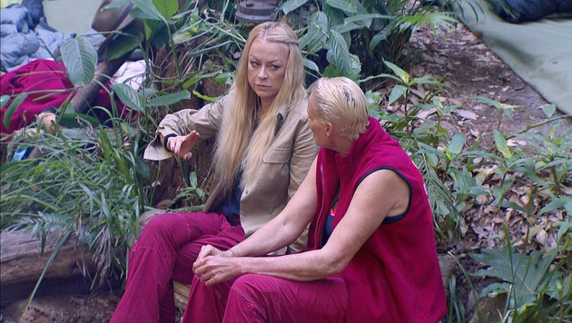 Jenny und Brigitte beim Tratsch im Dschungelcamp (Bild: RTL)