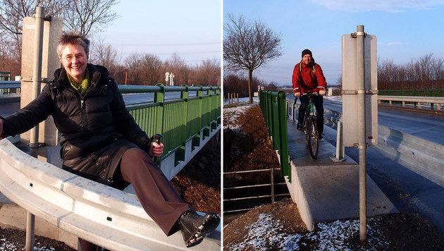 Bettina Bergauer (li.) zeigt es: Die Leitplanke stoppt Fußgänger, eine Tafel die Radler. (Bild: Grüne Deutsch-Wagram)