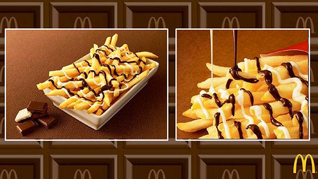 "McDonald""s bietet Pommes mit Schokosauce an (Bild: Twitter.com/McDonaldsCorp)"