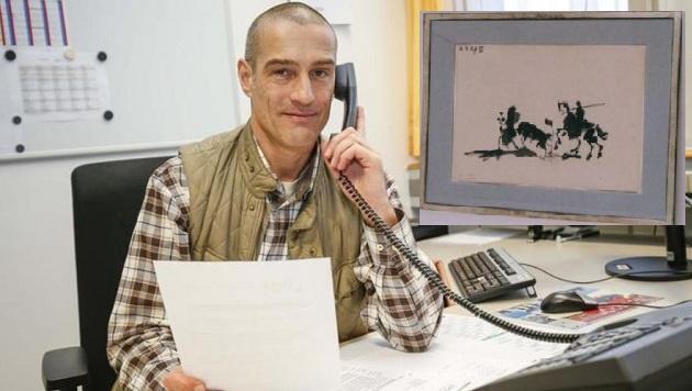 Ermittler Christian Voggenberger â013 Kleines Bild: Der Picasso, mit dem der Besitzer betrogen wurde. (Bild: Markus Tschepp/Polizei Salzburg)
