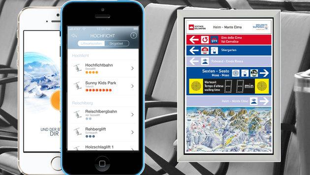 Die Infos zu Pisten-Wartezeiten werden wahlweise per Handy-App oder Anzeigetafel kommuniziert. (Bild: Queue-Go)