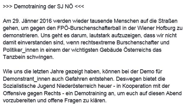Aufruf zum Demotraining der SJ Niederösterreich (Bild: Facebook.com/Sozialistische Jugend Niederösterreich)