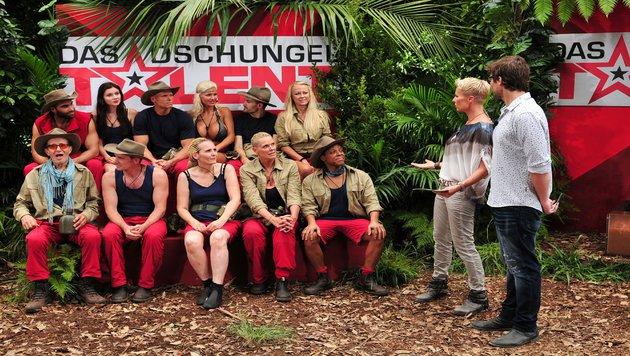 Die Dschungelcamper bei der Prüfung (Bild: RTL)