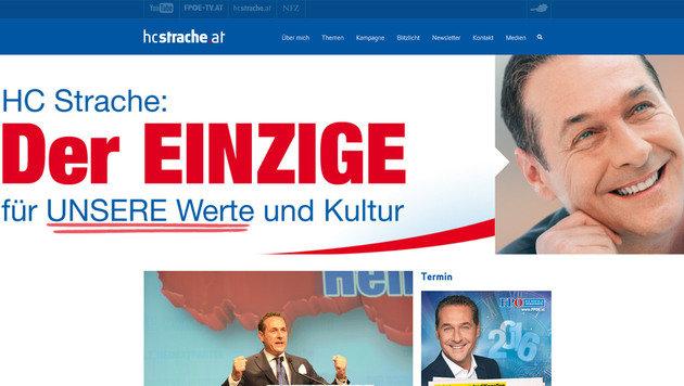 Das FPÖ-Original, erreichbar unter hcstrache.at (Bild: hcstrache.at)