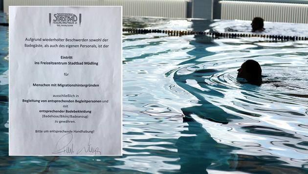 Stadtbad M�dling verweigert Migranten den Zutritt (Bild: Twitter.com, dpa/Oliver Krato (Symbolbild))
