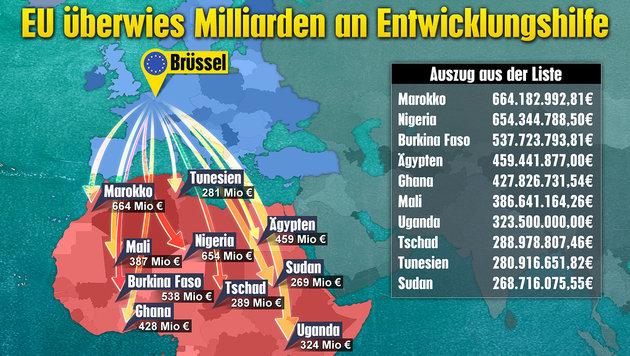 Ein Teil der EU-Geldflüsse in afrikanische Länder (Bild: Krone-Grafik)